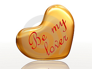 Be My Lover In Golden Heart Stock Images - Image: 7800044