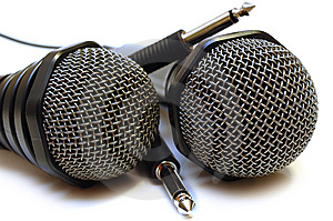 Two Black Wired Karaoke Microphones. Royalty Free Stock Photography - Image: 7800277