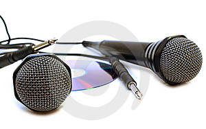 Two Black Wired Karaoke Microphones And CD. Stock Images - Image: 7800284