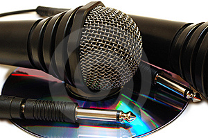 Two Black Wired Karaoke Microphones And CD. Stock Photos - Image: 7800303