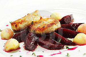 Chicken Confit With Pickled Beet Stock Photo - Image: 7800700