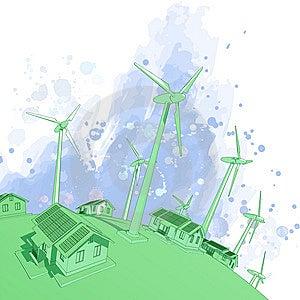 Wind Generators & Houses Stock Image - Image: 7801031