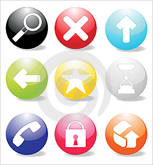 Glossy icons Stock Photo