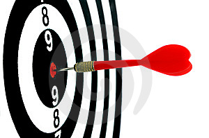 Red arrow hit in the center of target-4 Stock Images