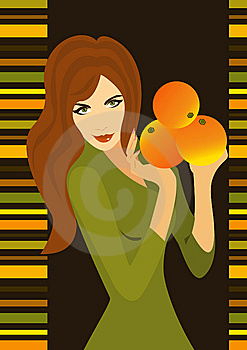 Slim Girl With Orange Royalty Free Stock Photography - Image: 7803737