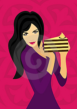 Slim Girl With Tart Stock Image - Image: 7803771