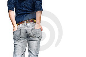 Hands in pocket Stock Photo
