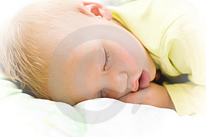 Restful Baby Boy Sleeping On Bed Stock Photos - Image: 7808743