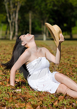 Beautiful Asian Girl In The Park Royalty Free Stock Images - Image: 7811709