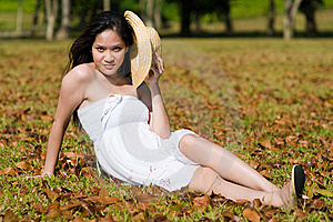 Beautiful Asian Girl In The Park Royalty Free Stock Photo - Image: 7811745
