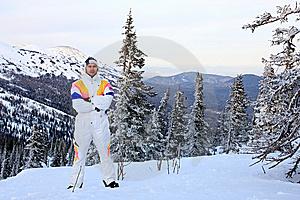 Mountain-skier On The Top Of Mountain. Stock Images - Image: 7812074