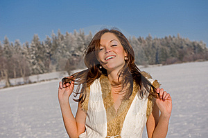 Sexy Brunette Woman In Winter Outfit Royalty Free Stock Image - Image: 7812716