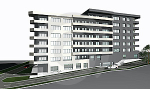 3D Render Of Modern Residential Building Stock Image - Image: 7813101