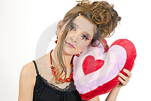 Girl Holding A Valentine's Day Pillow Royalty Free Stock Photos - Image: 7814088