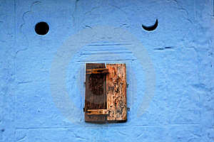 Little Close Window And Blue Wall Stock Photos - Image: 7821223