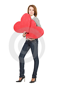 Pretty Model Girl Holding Two Hearts Stock Image - Image: 7821281