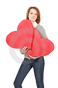 Model Girl Holding Two Hearts Royalty Free Stock Photos - Image: 7821488