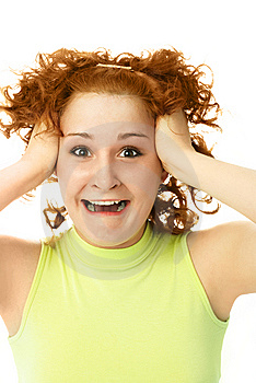 Frustrated Woman Tearing Her Hair Royalty Free Stock Photo - Image: 7822145