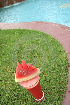 Watermelon Juice At Pool Stock Photos - Image: 7825353