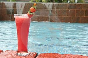 Strawberry Juice At Pool Stock Photo - Image: 7825370