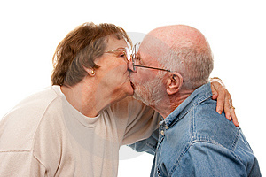 Affectionate Senior Couple Kissing Royalty Free Stock Image - Image: 7826636