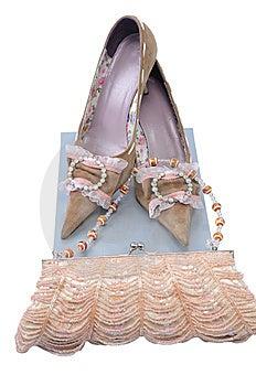 Handbag With Pair Woman Shoes Stock Photos - Image: 7828093
