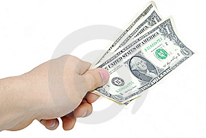 Hand With Few Bucks Isolated On White Royalty Free Stock Image - Image: 7828446