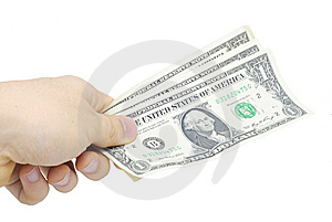 Hand With Few Bucks Isolated On White Royalty Free Stock Image - Image: 7828456