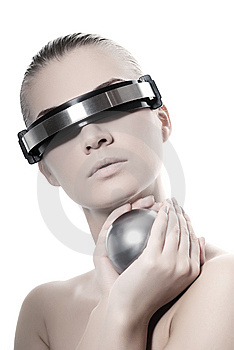 Beautiful cyber woman Stock Images