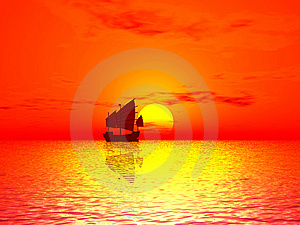 Red Sunset & Boat Royalty Free Stock Photo - Image: 7832215