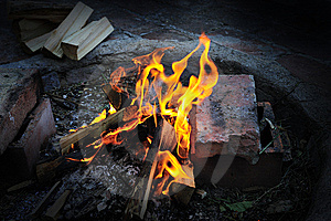 Impressive Yellow Fire Wood Rireplace Barbecue Stock Photography - Image: 7832862