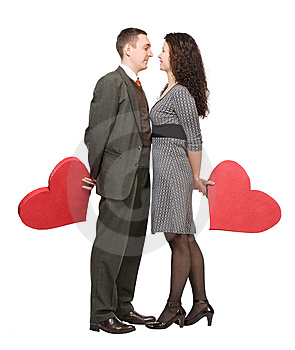 Couple Holding Red Hearts Royalty Free Stock Image - Image: 7834256