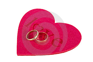 Heart And Two Rings Stock Images - Image: 7834894