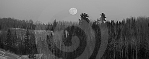 Full Moon Over Forested Hills Royalty Free Stock Photography - Image: 7835477