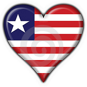 Liberia Button Flag Heart Shape Stock Photos - Image: 7837183