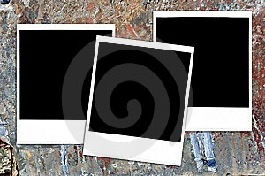 Instant Photos On Grungy Painted Surface Stock Photo - Image: 7838560