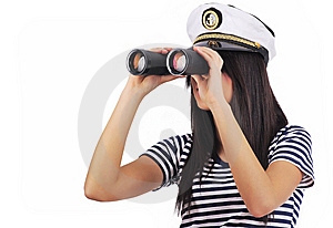Girl Looking Through Binoculars Royalty Free Stock Photos - Image: 7845208