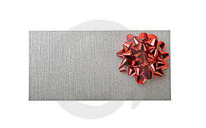 Silvery Envelope With Decoration Red Bow Royalty Free Stock Image - Image: 7847226