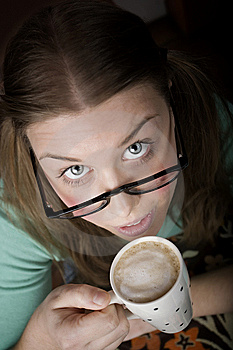 Pretty Young Woman With Coffee Royalty Free Stock Photography - Image: 7847297
