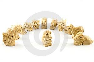 Aap (het Chinese Teken Van Woodcarving) Royalty-vrije Stock Foto's - Afbeelding: 7847578