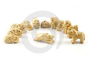 Schwein (chinesisches Zeichen Des Woodcarving) Lizenzfreie Stockfotos - Bild: 7847598