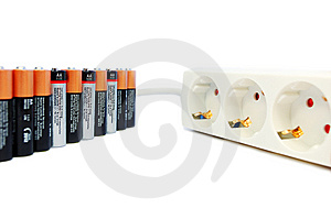 Batteries And Power Extension Cord Stock Image - Image: 7851051