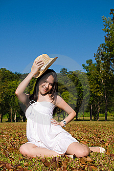 Beautiful Asian Girl In The Park Stock Image - Image: 7852961