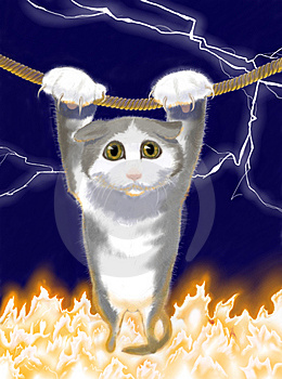 Cat Over The Fire Royalty Free Stock Images - Image: 7854269