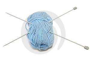 Two Knitting Needles And Woollen Yarn Clew. Stock Photo - Image: 7856010