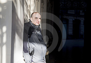 Man Portrait Near The Wall Royalty Free Stock Images - Image: 7860349