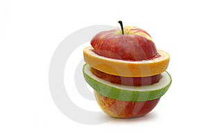 Grapefruit And Apple Isolated On A White Backgrou Stock Images - Image: 7863974
