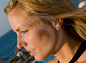Blonde Female Looking Into Sun In Resort Stock Images - Image: 7865094