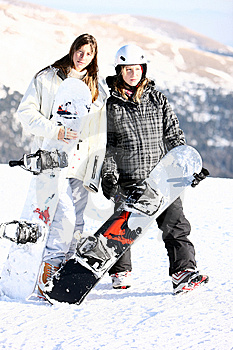 Two Girls With Snowboards Royalty Free Stock Image - Image: 7867206