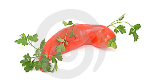 Hot Pepper And Parsley Royalty Free Stock Photo - Image: 7868545